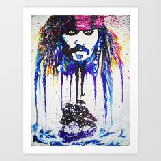 Made out of melted crayon on a canvas!! ARGH! Art Print by MeltingMiltons - $20.00