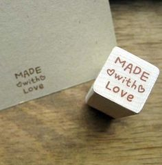 MADE WITH LOVE with tiny hearts Kawaii Wooden Rubber Stamp Scrapbooking Craft. $4.20, via Etsy.