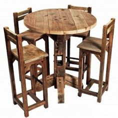 Hightop reclaimed table with chairs