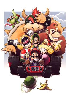"The Mario Kart 64 Racers drawn by Fredrik ""fedde"" Mattsson The Rainbow Road 64 drawn by ~Mario Kart 64 was one of the first Nintendo 64 games that were released after the… Super Nintendo, Nintendo 64, Super Mario Bros, Super Mario World, Xbox One, Mario Kart 64, Playstation, Fanart, Samurai Art"