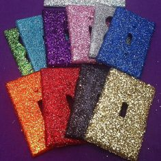 DIY: Glitter light switch plates! Unscrew the light switch plate if needed. Brush on a thin layer of glue, then sprinkle the glitter! Let dry. Brush a layer of clear nail polish over it. These will add a little bit more PIZZAZZ to any room!
