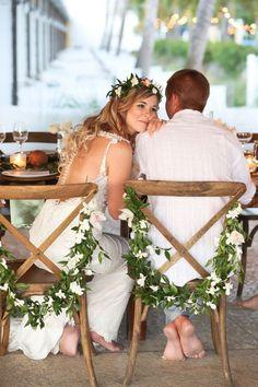 Tropical wedding chair garlands | Wedding chair decor | Tropical Florida wedding reception ideas and inspiration at the Postcard Inn | Florida beach wedding venues (Lifelong Photography Studio) #ChairWedding #beachweddingphotography #weddingvenues #weddingphotography