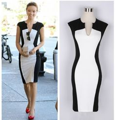 Summer 2014 Fashion Sleeveless Dress Women's Black And White Patchwork Pencil Dress Women V-neck Casual Dresses Plus Size Sexy(China (Mainland)) Cute Dresses, Casual Dresses, Fashion Dresses, Dresses For Work, Cheap Dresses, Prom Dresses, Stylish Dresses, Casual Wear, Dress Up