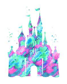Pink aqua Cinderella castle print Disney castle by FluidDiamondArt