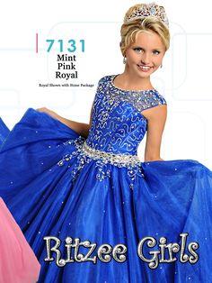 Ritzee Girls 7131 Cap Sleeves Pageant Dress