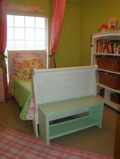 Ana White's super easy storage bench plan.  I'll router the top to make it a little nicer, then use baskets underneath to make it functional for our entryway.