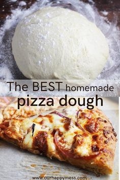 This super quick homemade pizza dough recipe uses three different types of (easy-to-find) flours for the perfect texture, taste and chewiness. Best of all, it's ready to go in under an hour. If you've been searching in vain for a chewy and flavorful pizza Pizza Cool, Quick Pizza, Semolina Pizza Dough, Bread Flour Pizza Dough, Easy Pizza Dough, Pizza Recipes, Cooking Recipes, Cooking Pork, Skillet Recipes