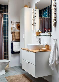Drop-in sink, white shelfs, big mirror, wood panel | IKEA Bulgaria