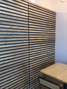 Wall cladding in wood with strips fixed on the wall with black background. Price referred to 1 sqm Wood Slat Wall, Wood Panel Walls, Wood Slats, Wood Siding, Wall Cladding Interior, Wood Cladding, Hallway Decorating, Interior Decorating, Home Yoga Room