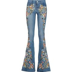 Alice + Olivia Ryley embellished mid-rise flared jeans (680 AUD) ❤ liked on Polyvore featuring jeans, mid denim, embroidered jeans, slim jeans, embellished jeans, slim fit jeans and blue jeans