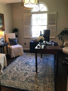 Desk was moved away from the wall. Now client looks out into a lovely room instead of at a wall. Supply Room, Organizing, Organization, Mudroom, Storage Spaces, Design Projects, Laundry Room, Corner Desk, Wall
