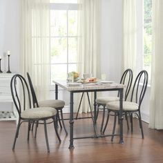 5 Piece Dining Set Metal Faux Marble Top Chairs Table Kitchen Dinner Five