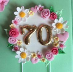 Ideas For Birthday Cake Fondant Woman Flowers Number Cake Toppers, Fondant Cake Toppers, Number Cakes, Fondant Cakes, Cupcake Cakes, Birthday Cake Fondant, 70th Birthday Cake, Fondant Numbers, Fondant Letters
