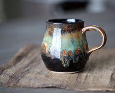Pottery Coffee Mug Tea Cup Rustic Black Brown with by ElmStudios