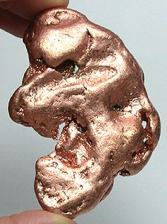 Copper nugget that was mined in the Upper Peninsula in Michigan, USA. Cool