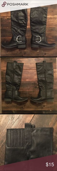 """Like New Tall Black Boots These are like new - only worn 3 times - black boots with a buckle. They have a zipper on the sides to make putting them on easier. Super cute and fashionable! Size 8.5. Just Fabulous brand. Knee high on myself, and I'm 5'5"""". Just Fabulous Shoes Over the Knee Boots"""