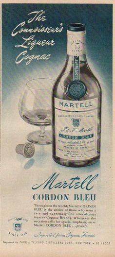 1952 Martell Cordon Bleu Cognac Brandy Ad