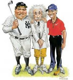 Babe, Einstein and Tiger - Mort Drucker caricatures Comic Book Artists, Comic Books, Cartoon Body, Caricature Drawing, Celebrity Caricatures, Babe Ruth, Sports Art, Pictures To Draw, Cool Cats