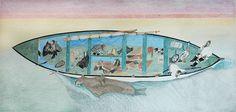 Kananginak Pootoogook at the Venice Biennale. Drawing, Ink and pen on paper. Inuit People, Inuit Art, Arctic Animals, Venice Biennale, Canadian Artists, Native American Art, Surfboard, Moose Art, Illustration Art