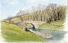 Yockenthwaite Bridge - sketch by John Edwards Mehr Watercolor Painting Techniques, Watercolor Journal, Pen And Watercolor, Painting & Drawing, Watercolor Paintings, Watercolours, Landscape Sketch, Landscape Drawings, Cool Landscapes
