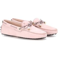 Tod's Heaven Lacetto Suede Loafers (1,795 SAR) ❤ liked on Polyvore featuring shoes, loafers, pink, pink suede shoes, suede shoes, pink loafers, loafers moccasins and tods loafers