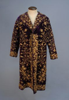 Velvet coat, c. late 19th - early 20th century; velvet, floral embroidery, sequins, lined in cotton twill