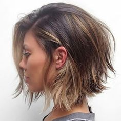 This textured bob with highlights is a great look for those with #thickhair who want to go shorter this Fall. #hairstyle #bob #shaggybob #chic #haircut by aphogee