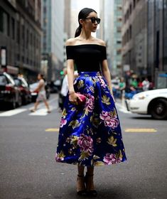 floral 2017 print silk midi skirt 2017 with off shoulder top 2017