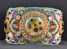 Colorful bead embroidered cuff - front view