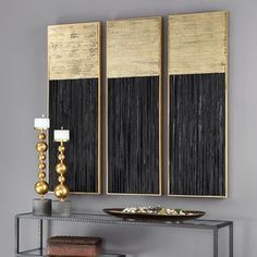 Hand-pieced layers of multi directional pine wood strips create a dramatic textural effect for any wall. The Pierra wall art is finished in a deep charcoal black and metallic gold leaf. Gold Wall Decor, Gold Wall Art, Leaf Wall Art, Diy Wall Art, Diy Art, Wall Art Decor, Black Wall Art, Gold Leaf Art, Gold Art