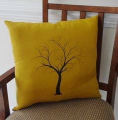 Decorative Tree Print Throw Pillow Cover on Gold Linen Black Tree on Gold 18x18. $25.00, via Etsy.