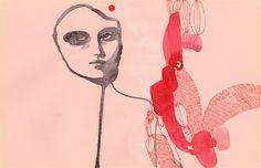 "Til I Stumble, From the series The Passengers, TINA BERNING, China Ink, Crayon, 8"" x 11.5"""
