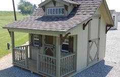 The Craftsman Playhouse - This playhouse has everything you could ever want! There is a dormer inside for extra light, a staircase with one level and a secret door to the outside with a slide. There's also a porch where you can always enjoy playing outside since you won't get wet if it's raining.