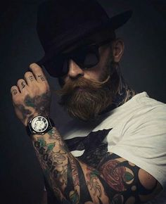 60 ideas tattoo sleeve men 39 s forearm Mr Beard, Beard King, Beard Game, Sexy Beard, Beard No Mustache, Beard Styles For Men, Hair And Beard Styles, Hipster Beard, Men's Fashion Styles