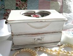 Shabby Chic Jewelry Box Upcycled Chippy White by WeeLambieVintage, $45.00