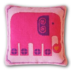 needlepoint elephant pillow