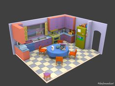The Simpsons House – (Homer And Marge& bedroom), Daniel Fernandes The Simpsons, Daniel Fernandes, Homer And Marge, Sims House Plans, Casas The Sims 4, Minecraft Construction, Collections Of Objects, Lego City, Minecraft City