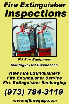 Fire Extinguisher Inspections Montague, NJ (973) 784-3119We're NJ Fire Equipment.. The Main Source for Fire Protection for New Jersey Businesses. Call Today!  We would love to hear from you.