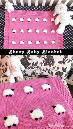 Sheep Baby Blanket - an adorable knitted baby blanket project that would be cute in any color. For more fun baby blanket knitting projects follow us at http://www.pinterest.com/2SistersCraft/