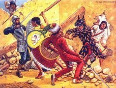 Battle between Spaniards and Tlaxcaltecas against Aztecs on the Siege of Tenochtitlan 1521.
