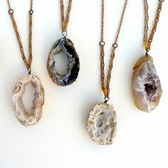 Geode necklaces