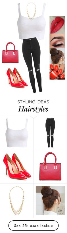 """""""Untitled #2909"""" by sigalv on Polyvore featuring Pin Show, Topshop, Gianvito Rossi and Fragments"""