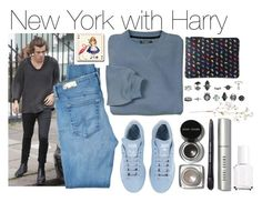 """""""New York with Harry"""" by phenomeniall-style ❤ liked on Polyvore featuring adidas, AG Adriano Goldschmied, Bobbi Brown Cosmetics, OKA, Essie, Avenida Home and harrystyles"""