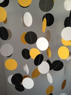 Black, White, Yellow 12 ft Circle Paper Garland- Party Decorations, Birthday, Wedding, Bridal Shower, Baby Shower on Etsy, $8.99