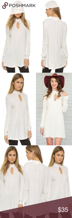 """Nwt FREE PEOPLE Copa Banana keyhole dress/tunic This price is amazing! Beautiful and soft! Can be worn as a dress or tunic.   Item was in my shop and someone tried it on with makeup on. I can't wash it, because it's new with tags. I have not tried to get the makeup off- please don't ask.   It can be a dress OR a tunic it's 31"""" long. Everyone's body is different. Free People Tops"""
