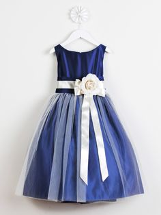 Royal Blue Satin and Tulle Flower Girl Dress in Sizes Infants-12 in 11 Colors