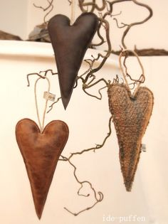 Old leather or burlap hearts for Valentines