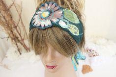 Flowers woman band, hippie hair band, unique head, flowers head, green girls headband, green hippie headband, boho hairband, women gift