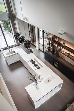 Witte keuken, Culimaat, Villa, Modern, Wit, Strak, Houteleme