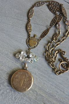 Friends Forever-Vintage photo locket necklace by frenchfeatherdesigns